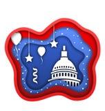 Rżnięty Papierowy tło dla czwarty Lipa dzień niepodległości usa, Capitol, Ballons, confetti royalty ilustracja