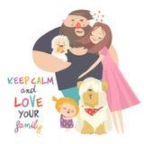 r Πατέρας, μητέρα, γιος και κόρη Οι γονείς κρατούν σε ετοιμότητα των παιδιών τους απεικόνιση αποθεμάτων