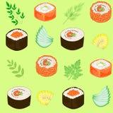 r Πιάτα της εθνικής ιαπωνικής κουζίνας, σούσια, ρόλοι, ψάρια Κατάλληλος ως ταπετσαρία στην κουζίνα, για τα τρόφιμα συσκευασίας απεικόνιση αποθεμάτων