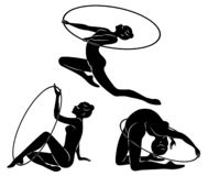 r Ρυθμική γυμναστική Σκιαγραφία ενός κοριτσιού με μια στεφάνη Όμορφος gymnast η γυναίκα είναι λεπτός και νέος r απεικόνιση αποθεμάτων