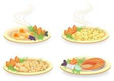 r Σε ένα πιάτο, ένα αντικνήμιο του κρέατος κοτόπουλου, μια μπριζόλα του σολομού Διακοσμήστε τις τηγανισμένες πατάτες, μανιτάρια,  ελεύθερη απεικόνιση δικαιώματος