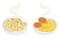 r Σε ένα πιάτο τηγανισμένων cutlets και των μανιταριών Διακοσμήστε τις πατάτες, τα κρεμμύδια και τα πράσινα άνηθου Νόστιμα και θρ διανυσματική απεικόνιση
