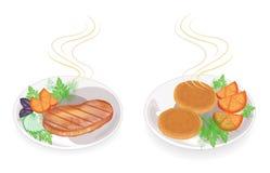 r Σε ένα πιάτο της καυτά τηγανισμένα μπριζόλας και cutlets κρέατος Διακοσμήστε την ντομάτα, μαϊντανός, άνηθος Νόστιμα και θρεπτικ απεικόνιση αποθεμάτων