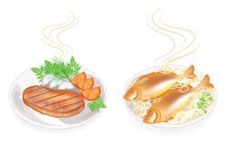 r Σε ένα πιάτο της καυτών τηγανισμένων μπριζόλας και των ψαριών κρέατος Διακοσμήστε το κρεμμύδι, ντομάτα, μαϊντανός, άνηθος Νόστι διανυσματική απεικόνιση