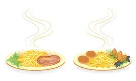 r Σε ένα πιάτο cutlets, κρέας μπριζόλας Διακοσμήστε τις τηγανισμένους πατάτες, την ντομάτα, τον άνηθο πρασίνων, το βασιλικό και τ διανυσματική απεικόνιση