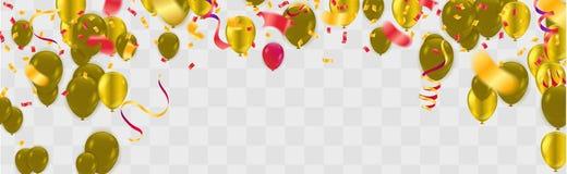 r στιλπνά χρυσά και κόκκινα μπαλόνια με το υπόβαθρο διακοπών με ζωηρόχρωμος και ελικοειδής απεικόνιση αποθεμάτων