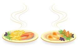 r Στο πιάτο είναι το τυμπανόξυλο του κρέατος κοτόπουλου, μπριζόλα σολομών Διακοσμήστε τις τηγανισμένες πατάτες, ντομάτα, άνηθος π ελεύθερη απεικόνιση δικαιώματος