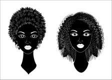 r Σχεδιάγραμμα ενός κεφαλιού των γλυκών κυριών Τα κορίτσια αφροαμερικάνων παρουσιάζουν hairstyles για τη μακριά και μέση τρίχα Σκ απεικόνιση αποθεμάτων
