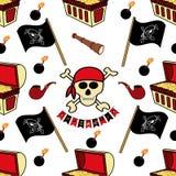 r Σύμβολο-ξίφη πειρατών, στήθος θησαυρών, κρανίο και κόκκαλα, καπνίζοντας σωλήνας, σημαία, γάντζος Ατελείωτο υπόβαθρο για το σας ελεύθερη απεικόνιση δικαιώματος