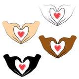 r Τα ανθρώπινα χέρια είναι διπλωμένα με μορφή μιας καρδιάς και μιας κόκκινης καρδιάς Άνθρωποι των διαφορετικών υπηκοοτήτων Ημέρα  διανυσματική απεικόνιση