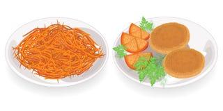 r Τηγανισμένα patties σε ένα πιάτο Ένα πιάτο με κορεατικό Morkwi Διακοσμήστε με τις ντομάτες, τον άνηθο και το μαϊντανό Εύγευστος απεικόνιση αποθεμάτων