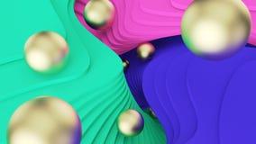 r Χρυσός ρόλος σφαιρών στα πράσινα, ρόδινα και μπλε βήματα psychedelic πραγματικότητα και παράλληλοι κόσμοι r διανυσματική απεικόνιση