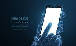r Абстрактный полигональный мобильный телефон крупного плана wireframe с экраном пробела белым пустым в удержании руки человека и бесплатная иллюстрация