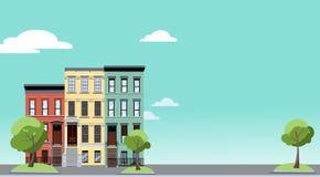 r Горизонтальная предпосылка с красочным городским пейзажем с уютными зелеными деревьями около 2-легендарных домов Знамя со свобо иллюстрация штока
