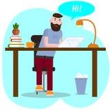 r Концепция места для работы Работы хипстера на планшете графиков Молодой человек связывает в социальных сетях бесплатная иллюстрация