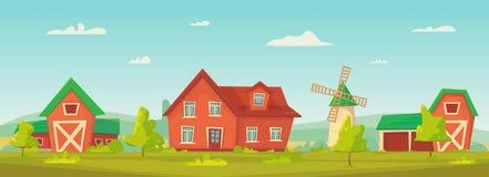 r Ландшафт фермы сельский с красными амбаром, домом и ранчо, водонапорной башней и стогом сена бесплатная иллюстрация