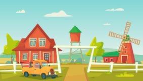 r Ландшафт фермы сельский с красными ветрянкой и тележкой фермы иллюстрация вектора