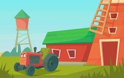 r Ландшафт фермы сельский с красными ветрянкой и трактором иллюстрация вектора