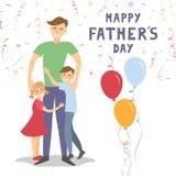 r Папа держа его сына и дочери иллюстрация штока