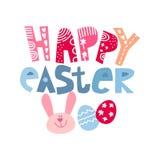 r 与时髦的文本的逗人喜爱的复活节兔在与愉快基督徒的节日的庆祝的白色背景' 皇族释放例证
