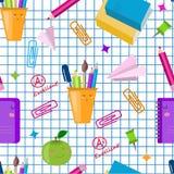 r 传染媒介无缝的学校样式 逗人喜爱的kawaii孩子打印,纹理 r 被摆正的名单纸 向量例证