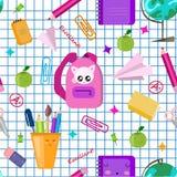 r 传染媒介无缝的学校样式 逗人喜爱的kawaii孩子打印,纹理 r 被摆正的名单纸 皇族释放例证