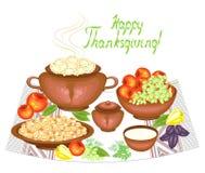 r 在欢乐桌vareniki,蘑菇,果子,苹果,葡萄,绿色,胡椒 r 皇族释放例证