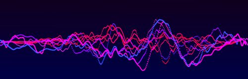 r 摘要蓝色数字调平器 r 动态轻的流程 3d?? 向量例证