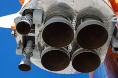 R-7洲际的火箭的联盟号火箭发动机修改的喷管被装配在开始状态 库存照片