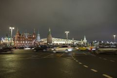 r 红场夜 俄罗斯,冬天,新年 免版税库存照片