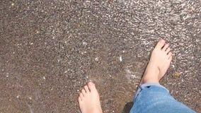 r 走沿海滩的妇女的美好的legsare 影视素材