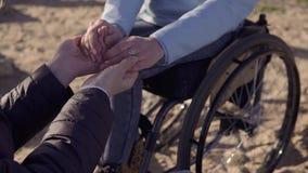 r 轮椅的年轻人残疾有残障的妇女讲话与她的坐在海和举行附近的母亲 股票视频