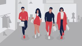 Happy shopping people vector illustration