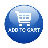 Add to cart button. Vector illustration of glossy add to cart web button on isolated white background vector illustration