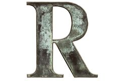 R. Metallic letter R isolated on white royalty free stock photography