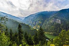 美好的狂放的山风景在喀尔巴阡山脉, R 免版税库存照片