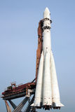 R-7 space rocket. R-7 rocket Vostok launcher monument in Moscow, Russia Stock Photo