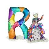 字体R在帽子和海角的水彩兔子 库存照片