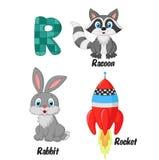 R alphabet cartoon. Illustration of R alphabet cartoon stock illustration
