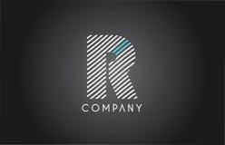 R alphabet line stripe white blue letter logo icon design Royalty Free Stock Photos