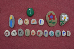1r aniversario con las piedras coloreadas Fotografía de archivo libre de regalías