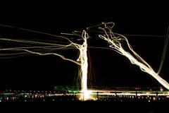 28R Approach. Night arrivals approach SFO runways 28L & 28R. San Francisco, California, USA royalty free stock image