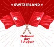1r August Swiss National Day Vector el ejemplo de la festividad nacional con la bandera suiza y los elementos patrióticos creativ ilustración del vector
