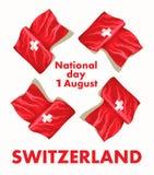 1r August Swiss National Day Vector el ejemplo de la festividad nacional con la bandera suiza y los elementos patrióticos creativ stock de ilustración