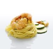 räkaspagettizucchini Arkivfoto