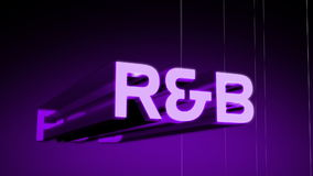 R&B Music Genre Header. R&B music genre header in 3D animating in and rotating with a wireframe rotating background. Last 10 seconds loop. HD 1080i stock footage