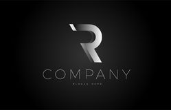 R black white silver letter logo design icon alphabet 3d Stock Images