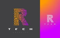 R-bokstav Logo Technology FörbindelseDots Letter Design Vector Royaltyfria Foton