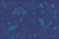 R bright beautiful banner illustration of fantastic ocean. Bright beautiful banner illustration of fantastic ocean creatures jellyfish octopus corals algae Royalty Free Stock Photography