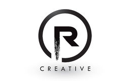 R Brush Letter Logo Design. Creative Brushed Letters Icon Logo. R Brush Letter Logo Design with Black Circle. Creative Brushed Letters Icon Logo royalty free illustration
